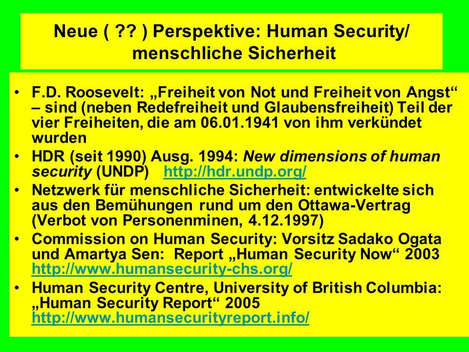 Neue ( ) Perspektive: Human Security/ menschliche Sicherheit