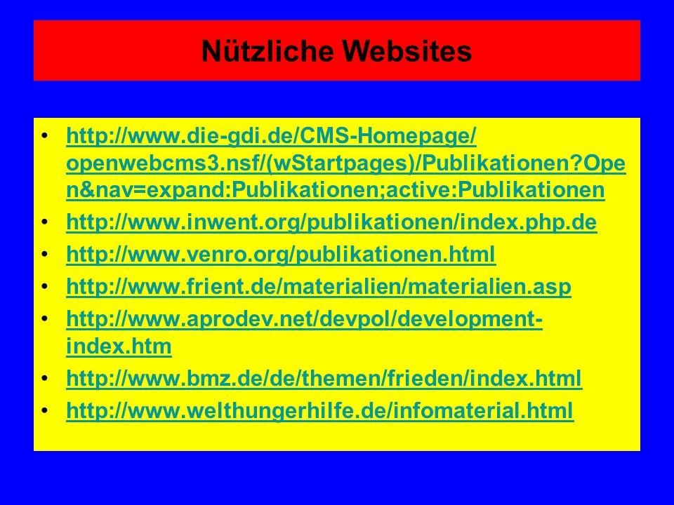 Nützliche Websites http://www.die-gdi.de/CMS-Homepage/ openwebcms3.nsf/(wStartpages)/Publikationen Open&nav=expand:Publikationen;active:Publikationen.