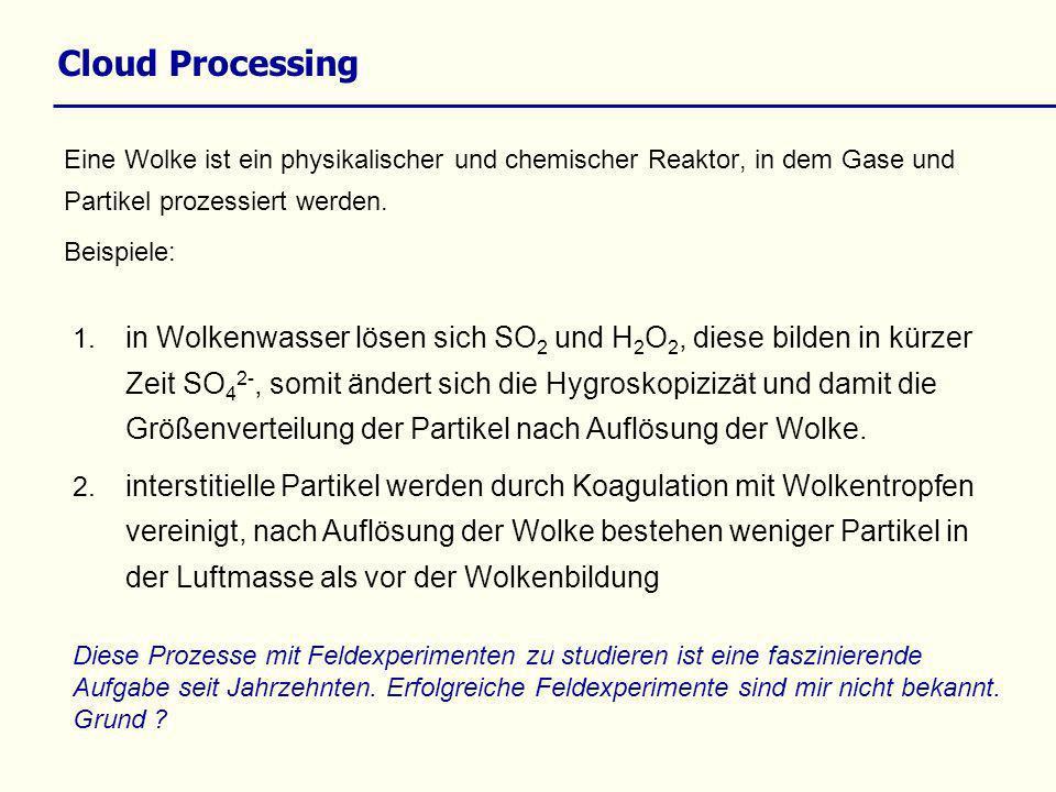 Cloud Processing Eine Wolke ist ein physikalischer und chemischer Reaktor, in dem Gase und Partikel prozessiert werden.