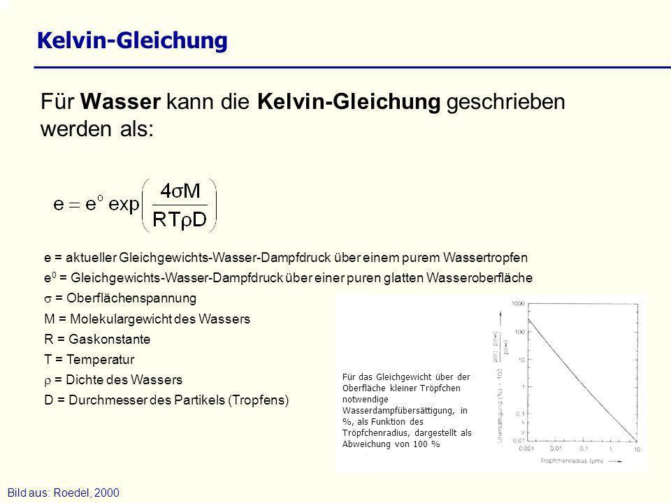 Für Wasser kann die Kelvin-Gleichung geschrieben werden als: