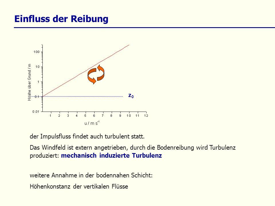 Einfluss der Reibung z0 der Impulsfluss findet auch turbulent statt.