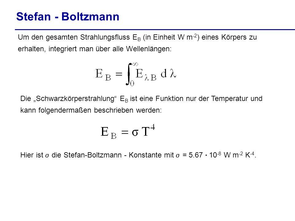 Stefan - Boltzmann Um den gesamten Strahlungsfluss EB (in Einheit W m-2) eines Körpers zu erhalten, integriert man über alle Wellenlängen: