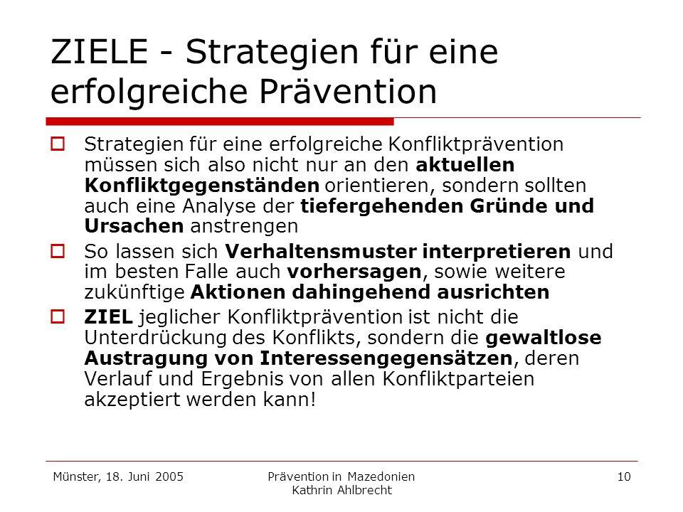 ZIELE - Strategien für eine erfolgreiche Prävention
