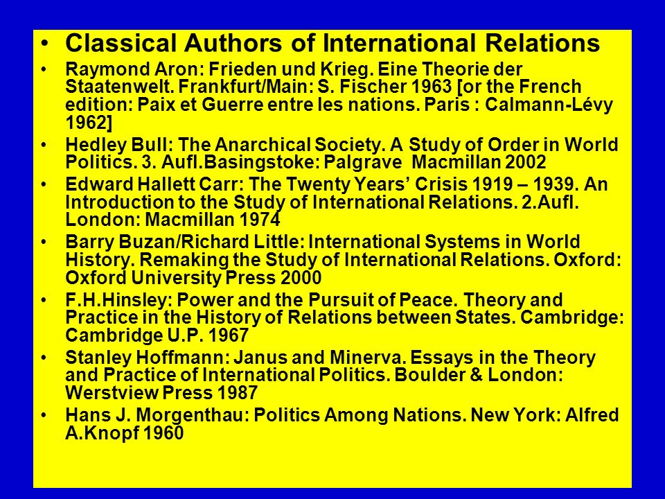 Classical Authors of International Relations