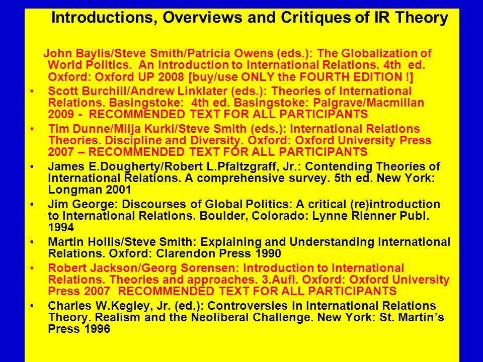 Introductions, Overviews and Critiques of IR Theory
