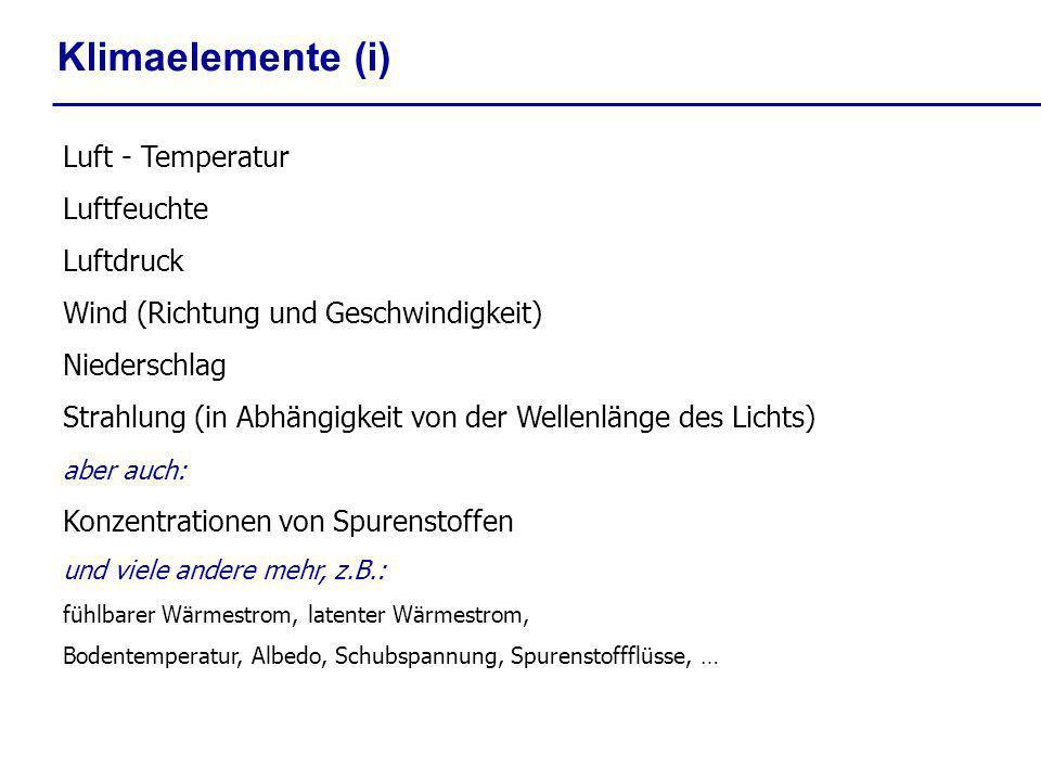 Klimaelemente (i) Luft - Temperatur Luftfeuchte Luftdruck
