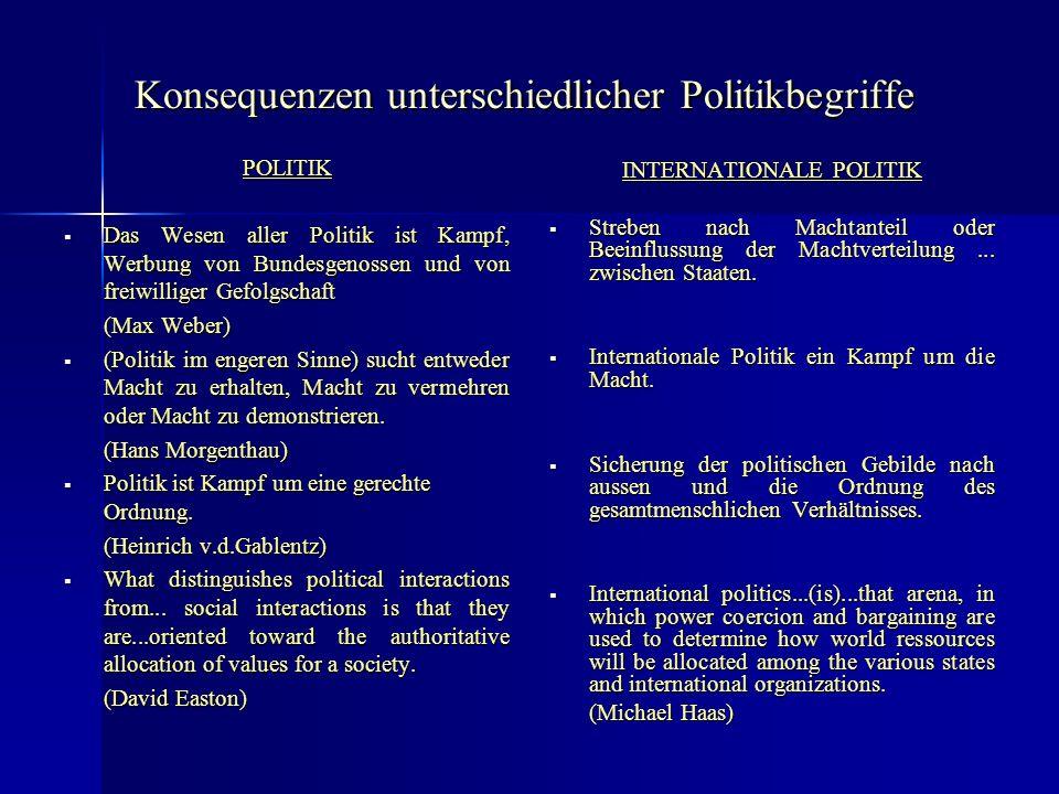 Konsequenzen unterschiedlicher Politikbegriffe