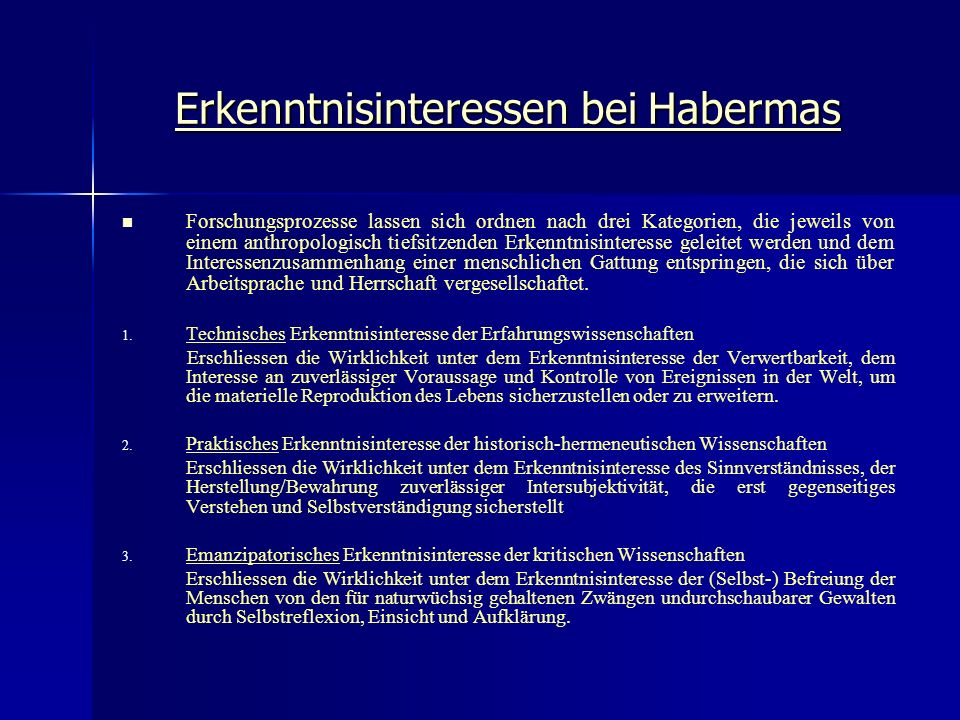Erkenntnisinteressen bei Habermas