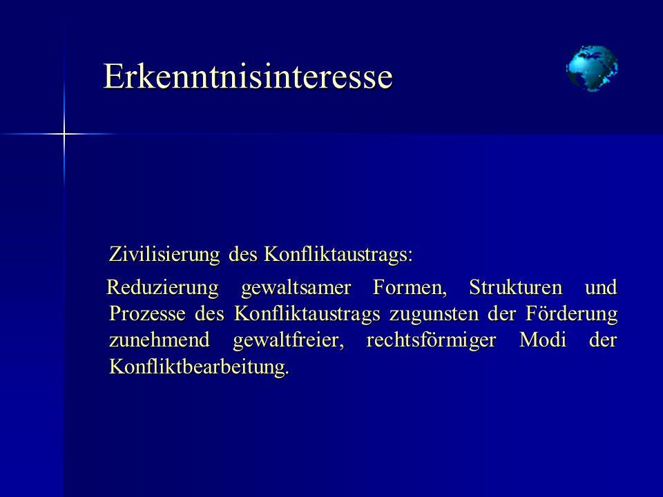 Erkenntnisinteresse Zivilisierung des Konfliktaustrags: