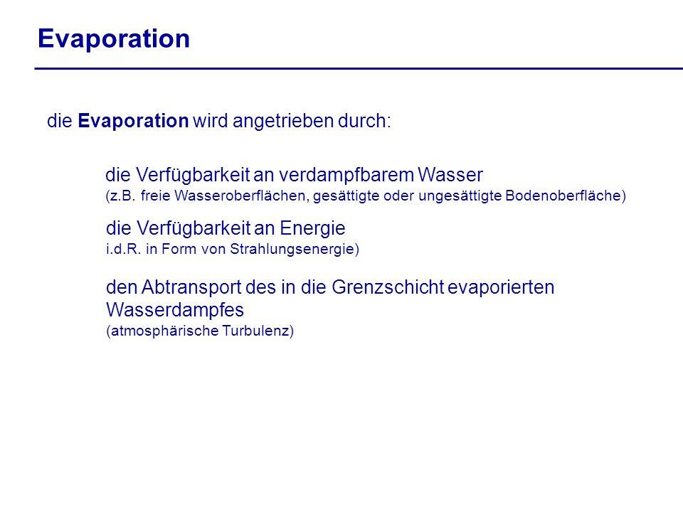 Evaporation die Evaporation wird angetrieben durch: