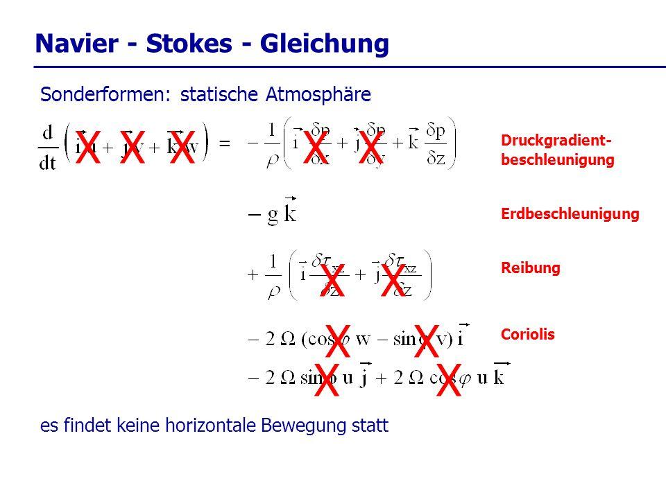 X Navier - Stokes - Gleichung Sonderformen: statische Atmosphäre =
