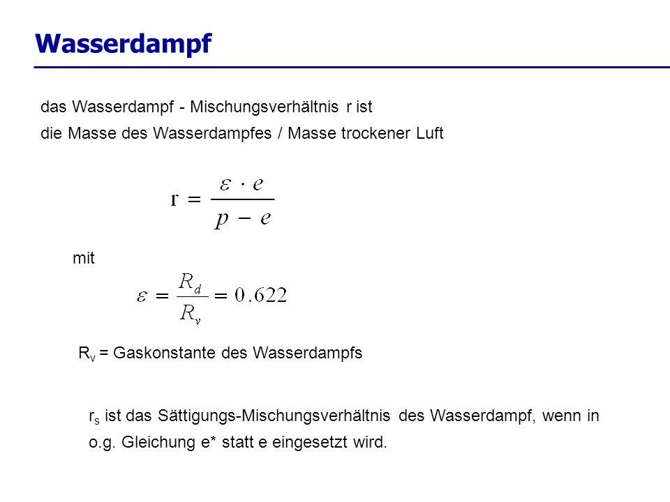 Wasserdampf das Wasserdampf - Mischungsverhältnis r ist