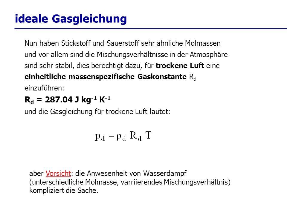 ideale Gasgleichung Rd = 287.04 J kg-1 K-1