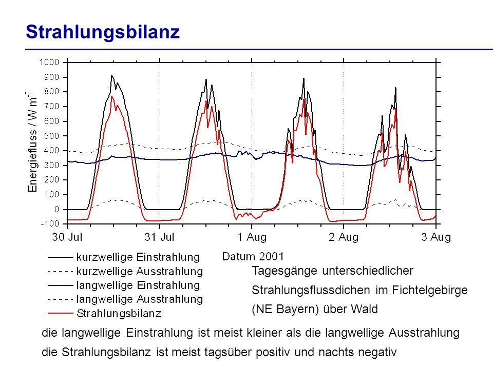 StrahlungsbilanzTagesgänge unterschiedlicher Strahlungsflussdichen im Fichtelgebirge (NE Bayern) über Wald.
