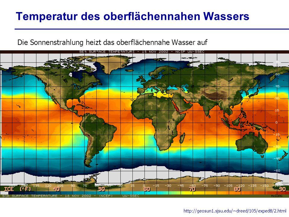 Temperatur des oberflächennahen Wassers