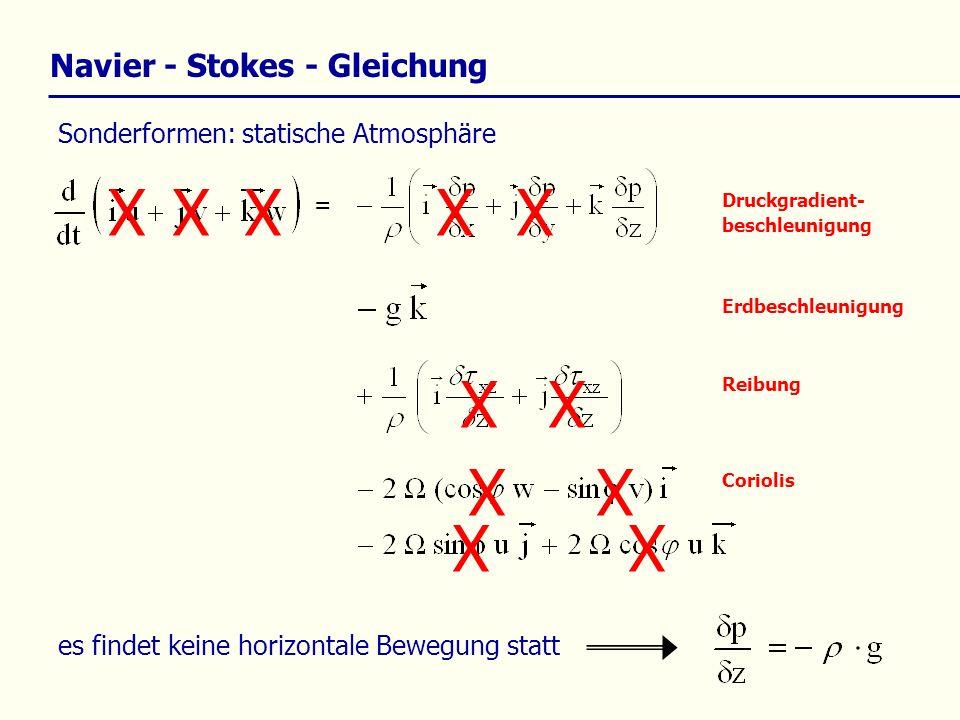 X Navier - Stokes - Gleichung Sonderformen: statische Atmosphäre