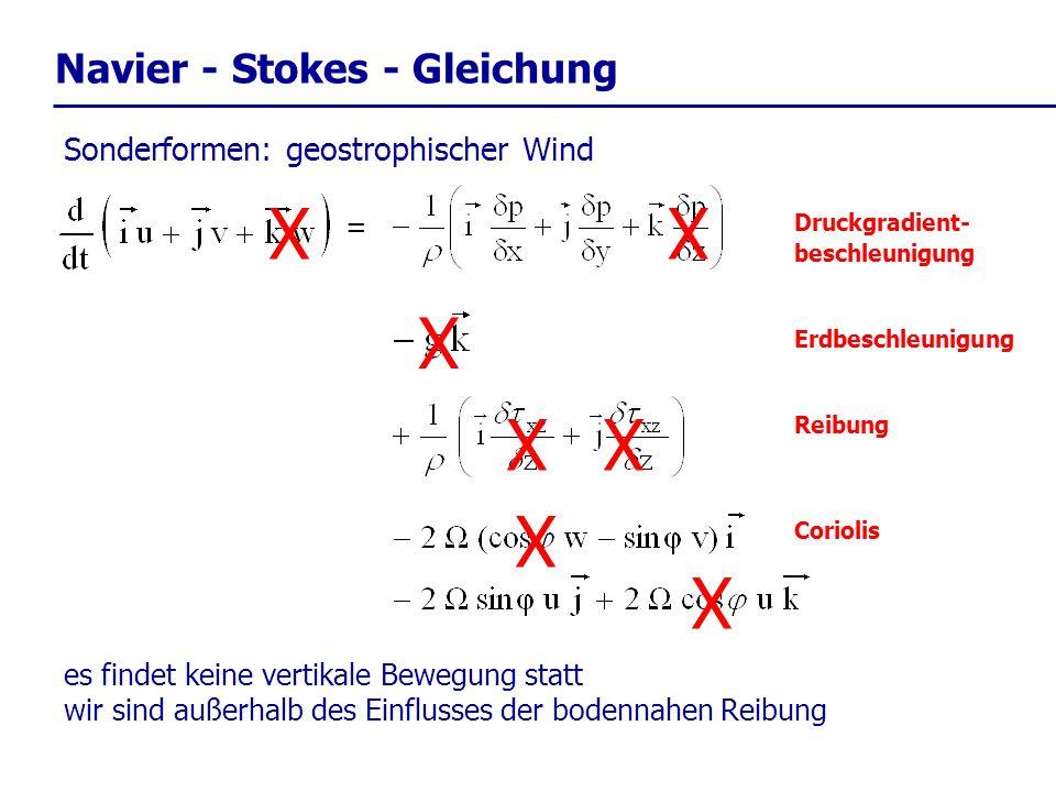 X X X X X X X Navier - Stokes - Gleichung