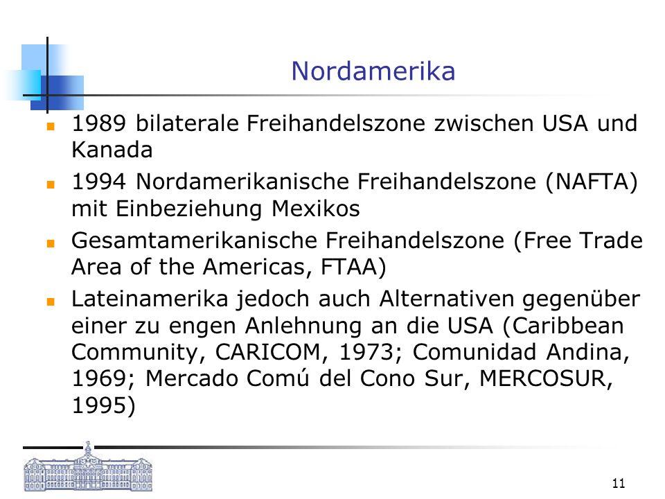 Nordamerika 1989 bilaterale Freihandelszone zwischen USA und Kanada