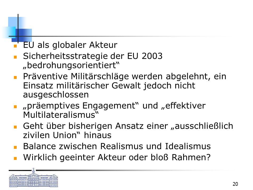 """EU als globaler Akteur Sicherheitsstrategie der EU 2003 """"bedrohungsorientiert"""