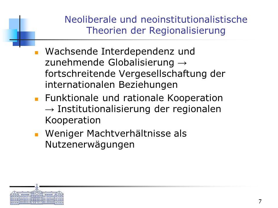 Neoliberale und neoinstitutionalistische Theorien der Regionalisierung