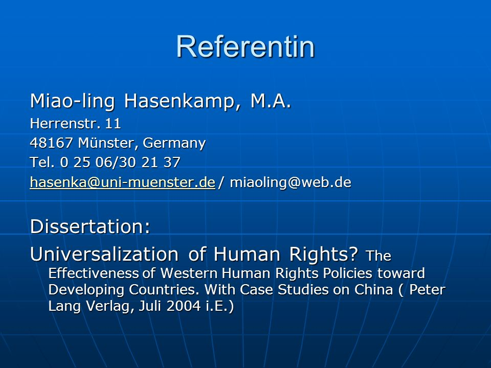 Referentin Miao-ling Hasenkamp, M.A. Dissertation: