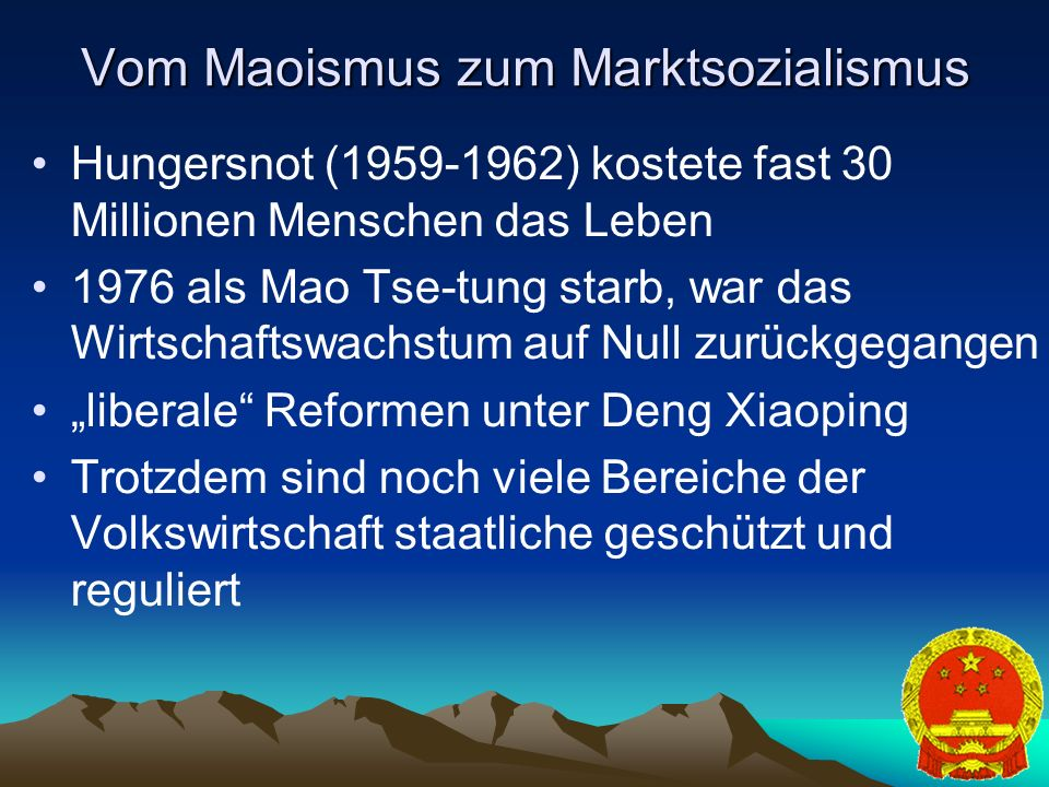 Vom Maoismus zum Marktsozialismus