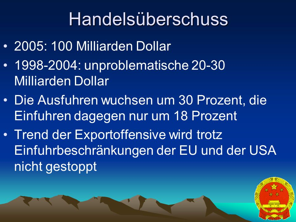 Handelsüberschuss 2005: 100 Milliarden Dollar