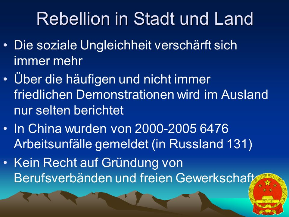 Rebellion in Stadt und Land