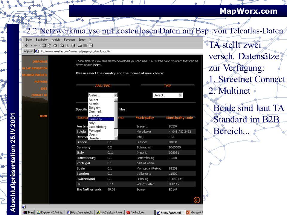TA stellt zwei versch. Datensätze zur Verfügung: 1. Streetnet Connect