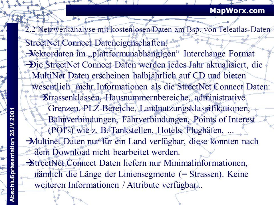 StreetNet Connect Dateneigenschaften: