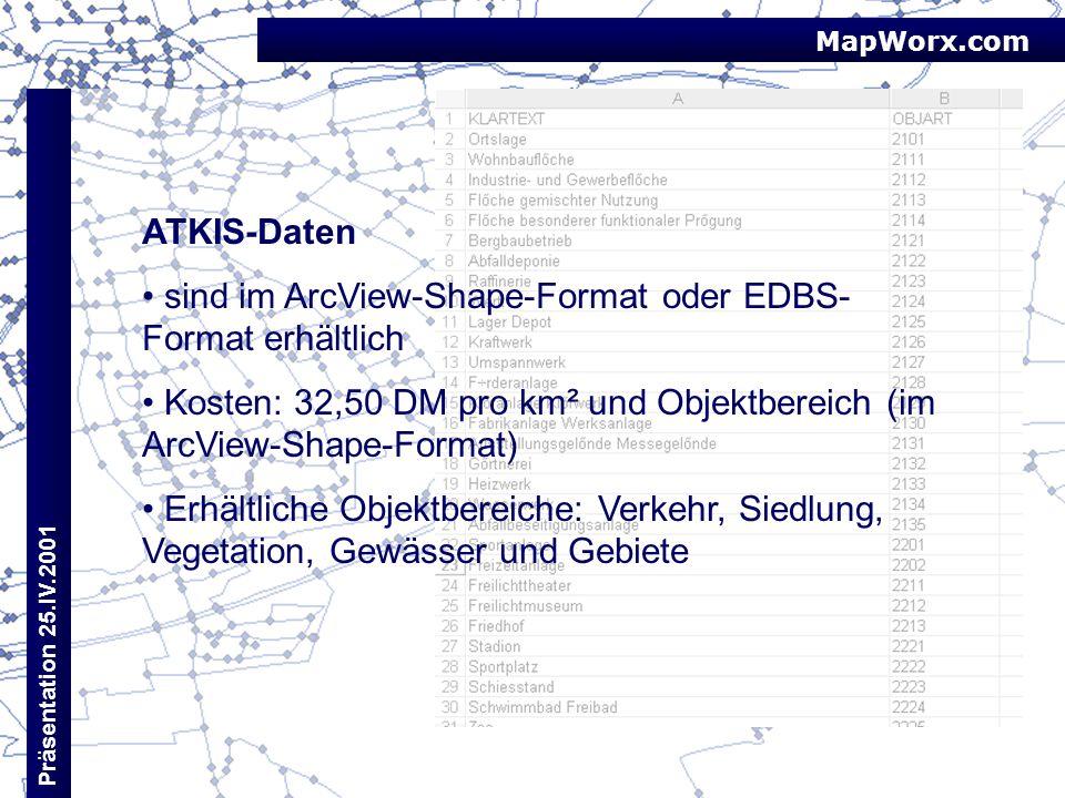 sind im ArcView-Shape-Format oder EDBS-Format erhältlich