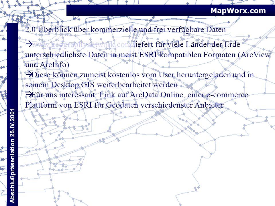 2.0 Überblick über kommerzielle und frei verfügbare Daten