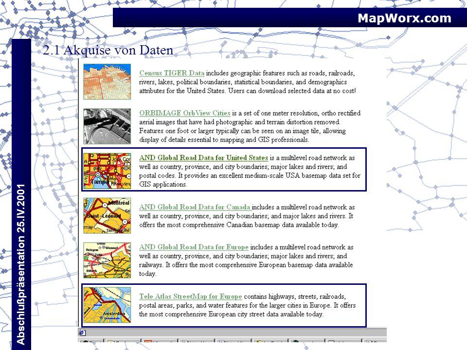 MapWorx.com 2.1 Akquise von Daten Abschlußpräsentation 25.IV.2001