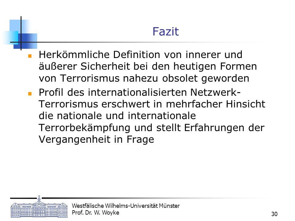 Fazit Herkömmliche Definition von innerer und äußerer Sicherheit bei den heutigen Formen von Terrorismus nahezu obsolet geworden.