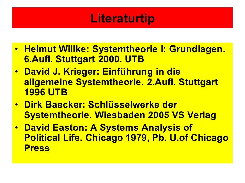 Literaturtip Helmut Willke: Systemtheorie I: Grundlagen. 6.Aufl. Stuttgart 2000. UTB.