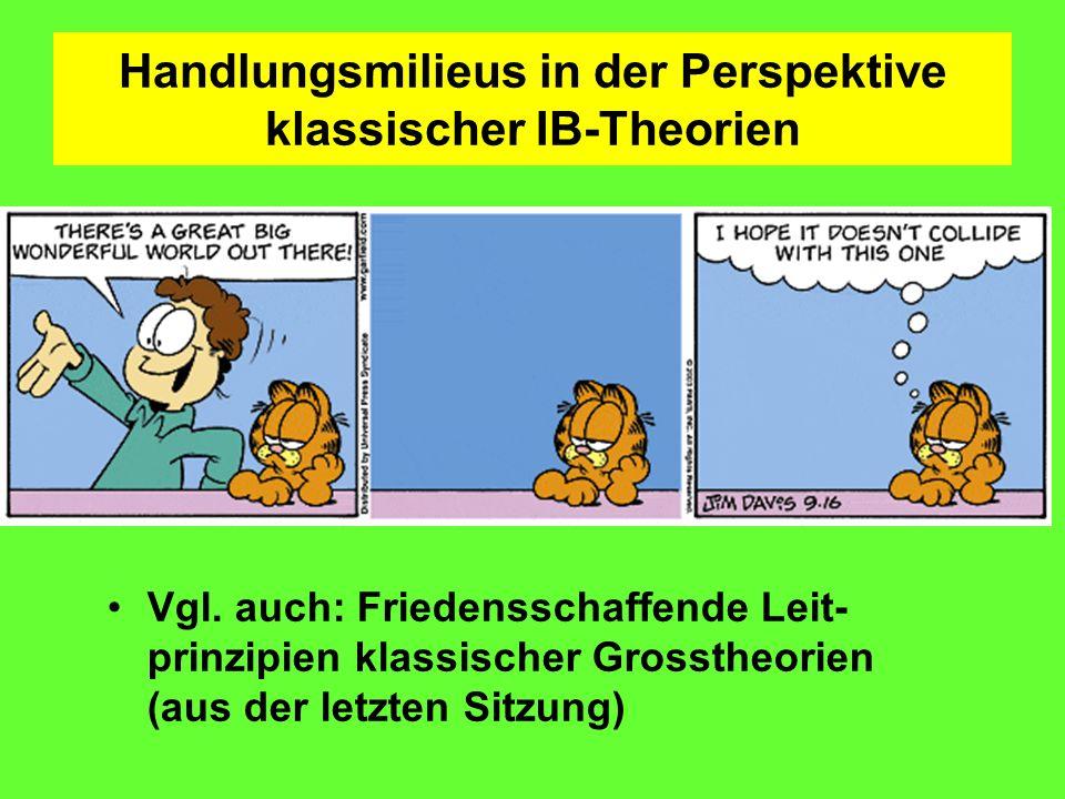 Handlungsmilieus in der Perspektive klassischer IB-Theorien