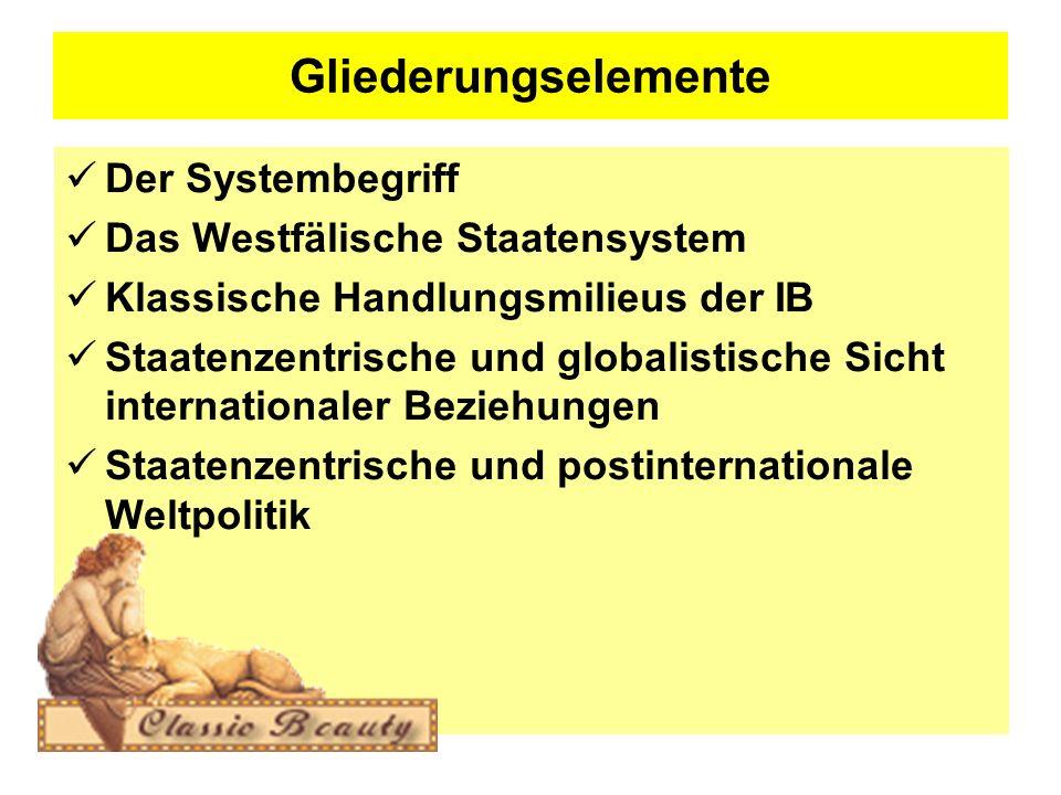 Gliederungselemente Der Systembegriff Das Westfälische Staatensystem