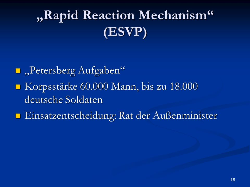"""Rapid Reaction Mechanism (ESVP)"