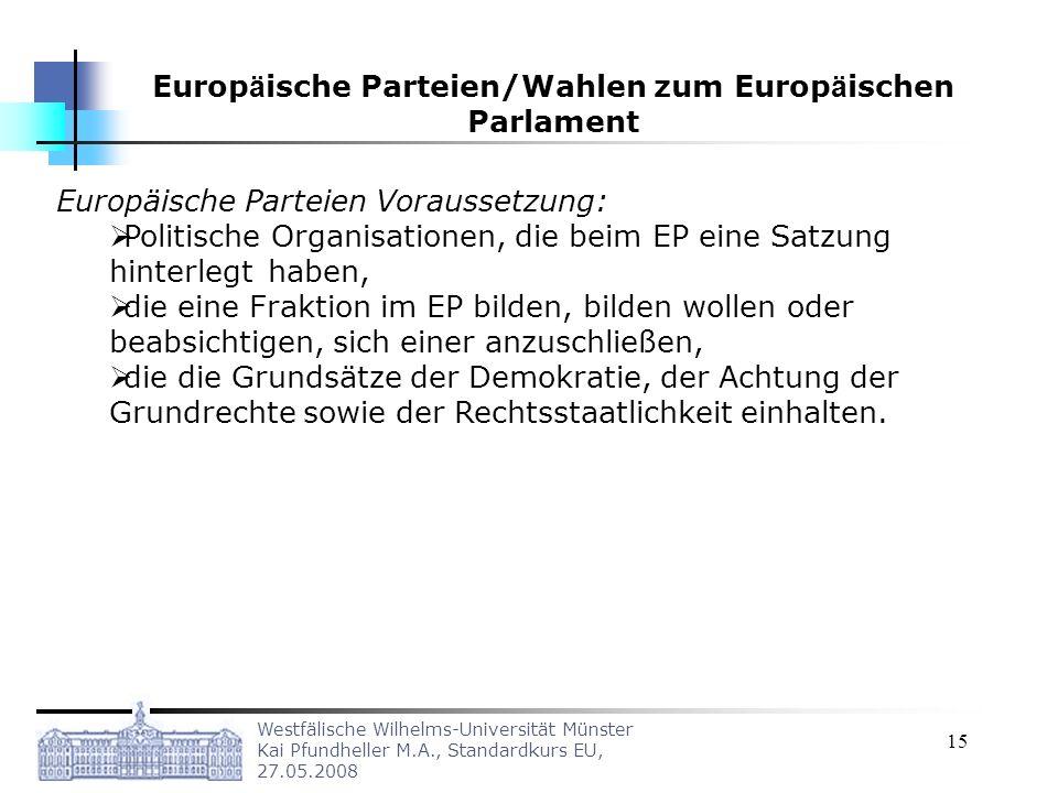 Europäische Parteien/Wahlen zum Europäischen Parlament