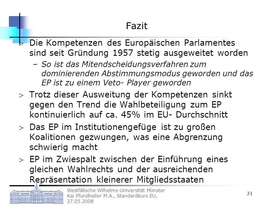 Fazit Die Kompetenzen des Europäischen Parlamentes sind seit Gründung 1957 stetig ausgeweitet worden.