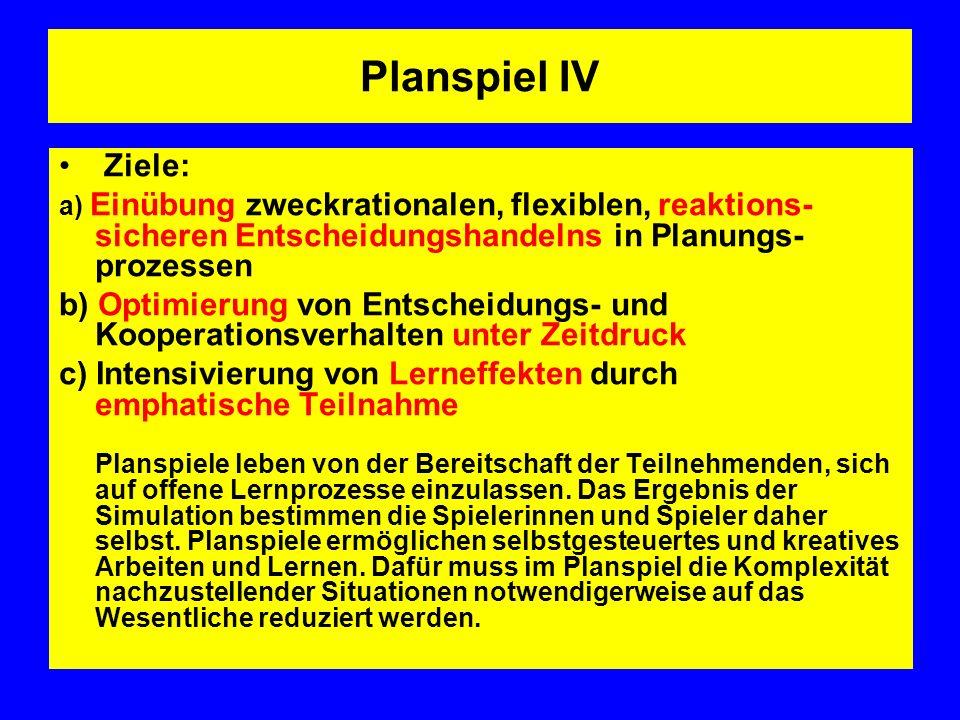 Planspiel IV Ziele: a) Einübung zweckrationalen, flexiblen, reaktions-sicheren Entscheidungshandelns in Planungs-prozessen.