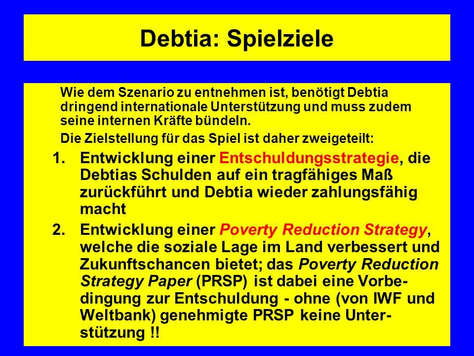 Debtia: Spielziele