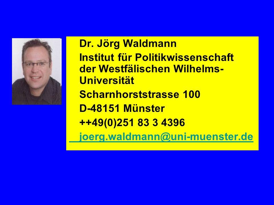 Dr. Jörg Waldmann Institut für Politikwissenschaft der Westfälischen Wilhelms-Universität. Scharnhorststrasse 100.