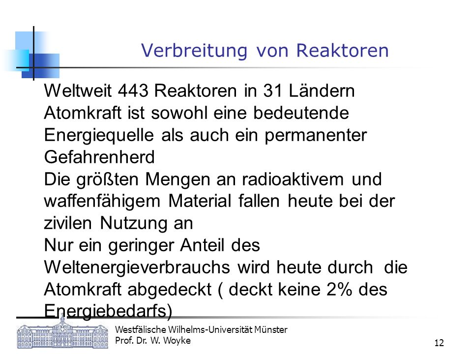 Verbreitung von Reaktoren
