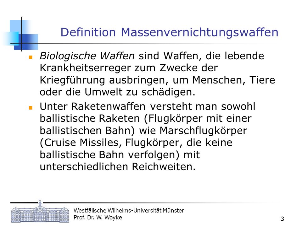 Definition Massenvernichtungswaffen