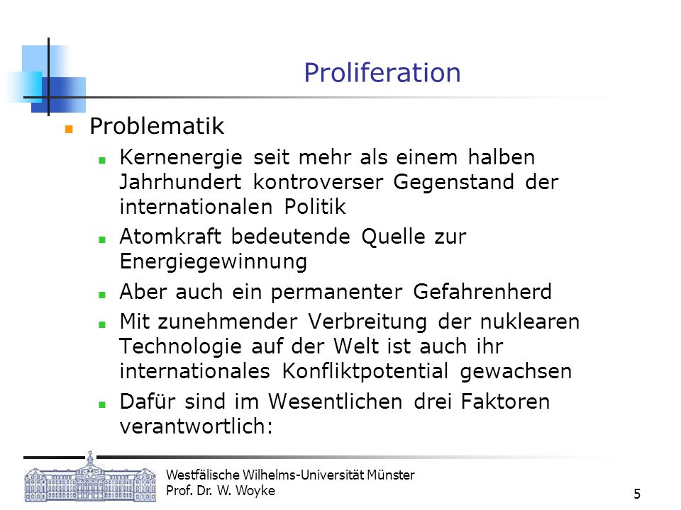 Proliferation Problematik