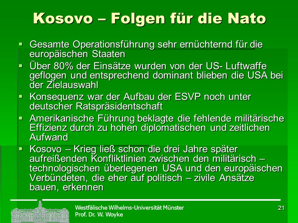 Kosovo – Folgen für die Nato