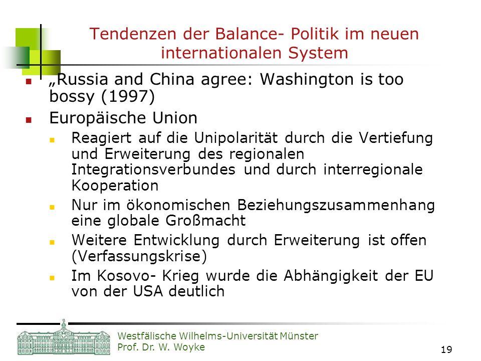 Tendenzen der Balance- Politik im neuen internationalen System