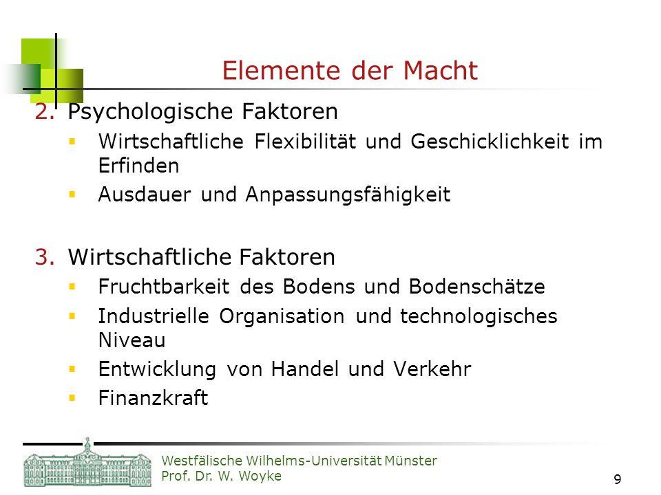 Elemente der Macht Psychologische Faktoren Wirtschaftliche Faktoren