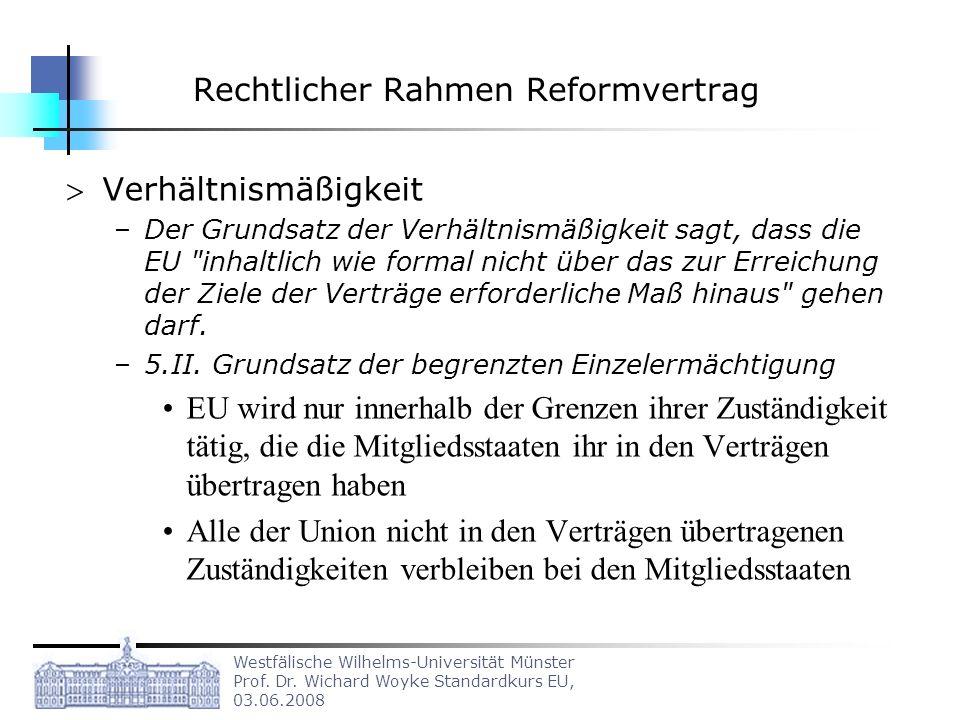Rechtlicher Rahmen Reformvertrag